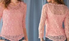 Tığ İşi Pudra Renkli Yazlık Bluz Modeli