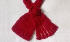 Zarif Ve Şık Örgü Kırmızı Fular Modeli ve Yapılışı
