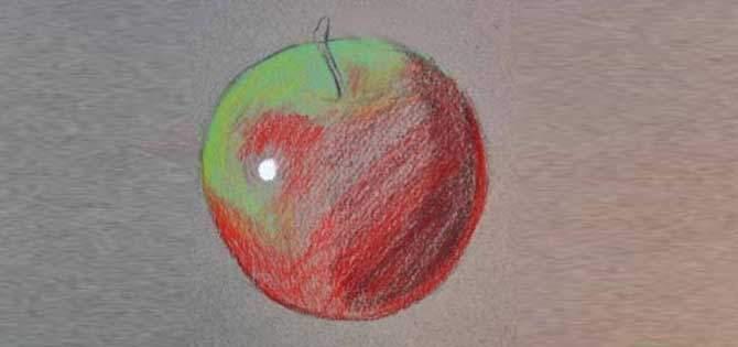 Pastel Boya Kullanarak Elma Resmi çizme örgü Bahçem